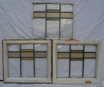 3 art deco leaded light stained glass window panels FOR SCRAP. S694. DELIVERY!!!