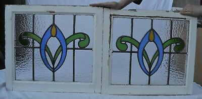 2 British leaded light stained glass window  panels. B705.  DELIVERY OPTIONS!!!