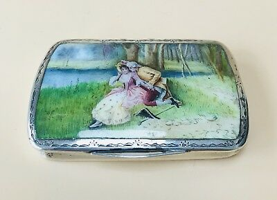 LOVELY GERMAN SOLID SILVER HAND PAINTED ENAMEL CASE, C1900 73.5g / 2.59oz