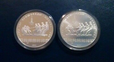 The Ussr Two Moscow 1980 Olimpic Silver Coins  10  Rubles ./ Proof & Nonproof /.