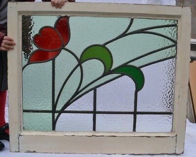 British leaded light stained glass window panel for above door R727. DELIVERY!