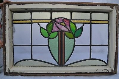 British leaded stained light glass window panel above door size. R730. DELIVERY!