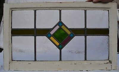 British leaded stained light glass window panel above door size. R711. DELIVERY!