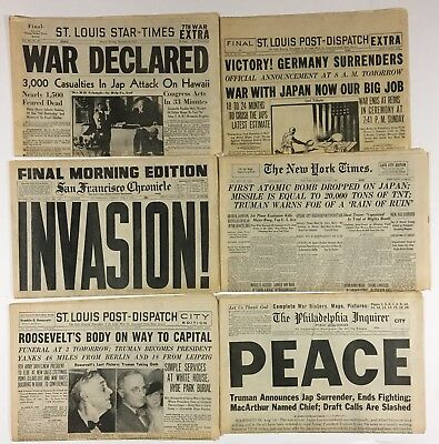 Lot of 6 Vintage WW2 Newspapers New York Times San Francisco Chronicle St Louis