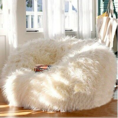 XTRA Large Luxury 400L Sheepskin Bean Bag COVER ONLY Faux Fur Shaggy White  Soft f41e6a7472abd