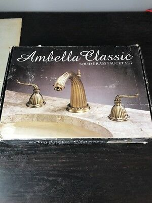 Ambella Classic Solid Brass Widespread Faucet Set Pewter Finish w Valves & Extra