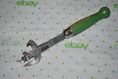 A & J BOTTLE OPENER Can Cutter Green Wood Handle USA Steel Tempered Vintage Used