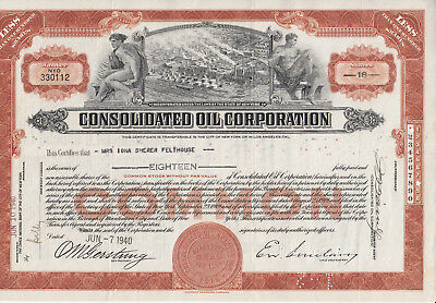 ÖL-NA-Aktie CONSOLIDATED OIL CORPORATION, 18 Shares, 1940
