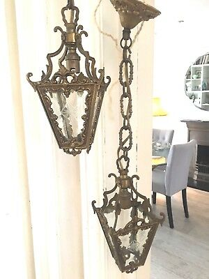 ONE victorian spelter brass small hall lantern