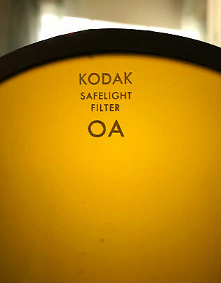 "KODAK SAFELIGHT OA Greenish Yellow DARKROOM 5.5"" DIAMETER GLASS FILTER"