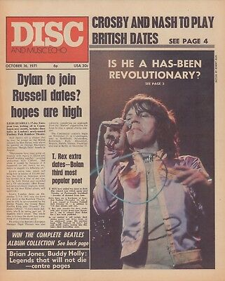 DISC and Music Echo Magazine 16th October 1971. Mick Jagger. Rock & Roll Legends