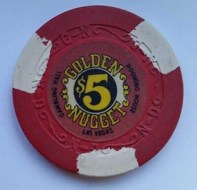 Rare  GOLDEN NUGGET $ 5  Las Vegas  Casino Poker Chip !  $$$$$$$$