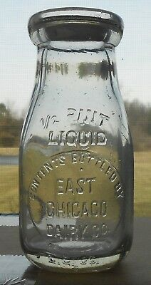 East Chicago Dairy Round 1/2 Pint Embossed Milk Bottle Indiana Ind In