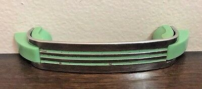 Vintage Chrome Drawer Pull Mint Green Line Cabinet Handle Art Deco Mid Century