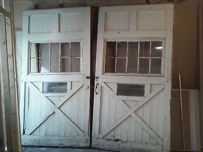 Pair of Nice 10' Antique Barn Doors From 1908, With Windows. NR WOW !!