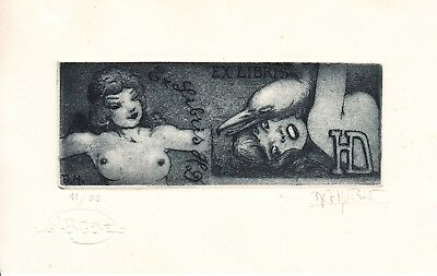 Ex Libris Jean Morisot etching erotic for HD rare two exlibris in one print !