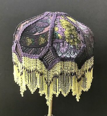 Victorian Purple Green Beaded Lampshade