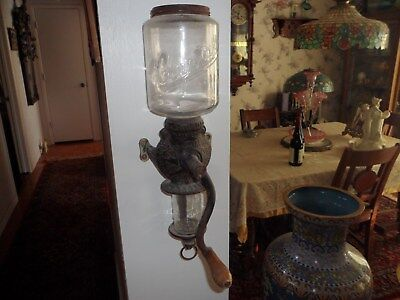 Antique Victorian Arcade Crystal Wall Mounted Coffee Grinder Glass & Cast Iron