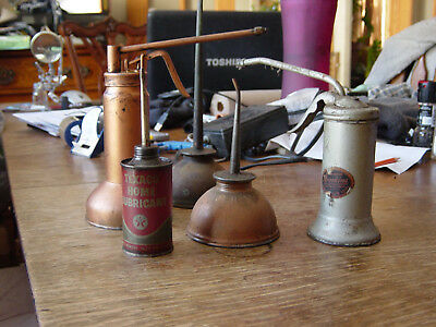Lot 11 Vtg Oilers Oil Cans Thumb Squirt Trigger Antique Singer,Texaco,Brookin;s