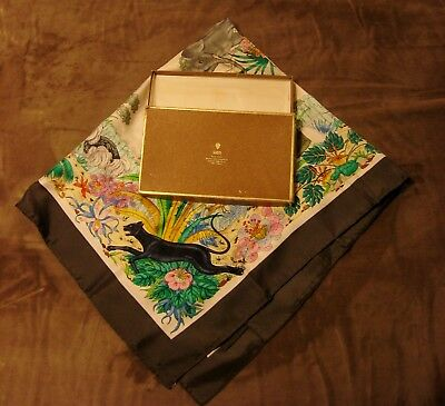 Vintage Gucci V. Accornero 'The Jungle' Silk Scarf with Box