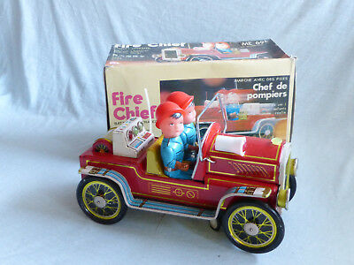 Red China ME 699 Fire Chief Car Battery Operated Blech Tin Toy 70er Jahre Ovp