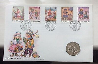 1993 Isle Of Man Christmas Coin And Stamp Cover
