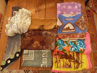 Vintage Lot, 9 Ladies Silk Scarves, Assortment square, rectangular & tie
