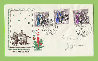Malta 1966 Christmas set on First Day Cover, Gzira