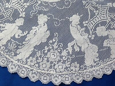 Beautiful Rare Vintage Japanese Figural  Cotton Filet or Nottingham Lace Doily