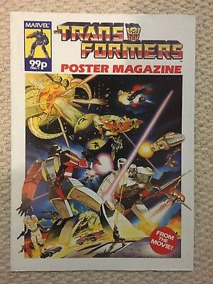 Transformers The Movie Poster Magazine Marvel UK 1986 Rare