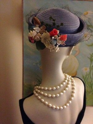 1950's Charming Vintage Straw Hat, Near Perfect, Veil & Dainty Vintage Flowers ~