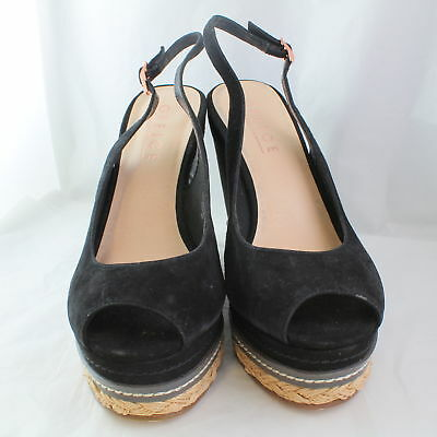 Womens Office Black Suede  Buckle  High Heels 7 * Ex Display