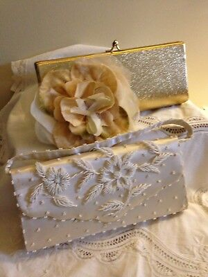 Classy Lot of Vintage Evening Clutch Purses, Beaded & Shimmer Gold Nos, Prefect