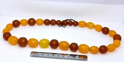 FINE ANTIQUE EGG YOLK GENUINE AMBER NECKLACE  79.5 Grams