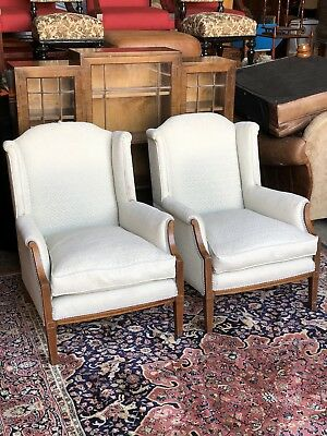 Pair Edwardian Inlaid Mahogany Wing Back Scroll Arm Lounge Chairs