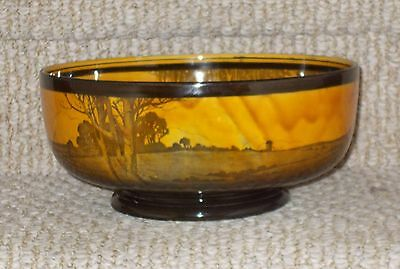 """Vintage Royal Doulton Amber Brown 10"""" Bowl with Black Windmill & Meadow Transfer"""