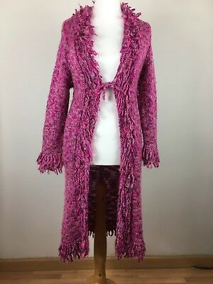 Monsoon Girls / Ladies Coatigan 10 - 12 Yrs Pink Shaggy Vintage / Boho Style