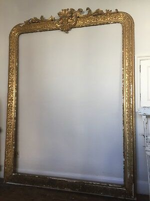 Huge 2m x 1.5m Large Antique Gilt Crested  Mirror Frame Louis XV
