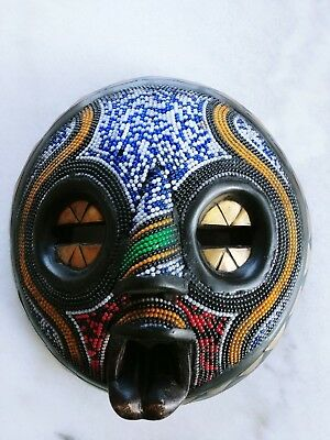 African Mask - Wood, Metal And Beads