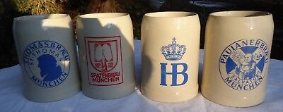 Vintage German Beer Steins  HB Spatenbrau Paulanerbraeu  Thomasbraeu Set Of 4