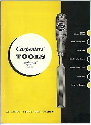 Vintage Bahco E A Berg Carpenters Tools Chisels Catalogue Brochure & Prices 1967