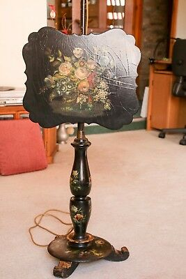 Antique Victorian Papier Mache Pole Fire Screen converted to standard lamp