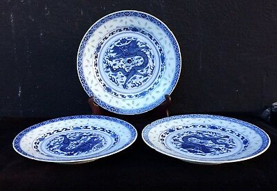 Set Of Three Blue And White Plates With Rice Pattens