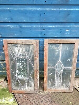 2Leaded Glass In Wooden Pine Frame