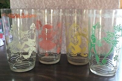4 Vintage Swift Peanut Butter Wizard Of Oz Glasses: The Whole Gang