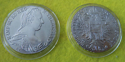 Österreich - 2 x Silber Münze/Medaille - Maria Theresia Taler 1780 (Stgl) kapsel