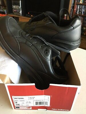Postal Uniforms Men New Balance Black Leather Walking Shoes Size 8 (Ee) Wide