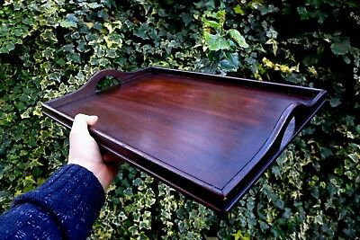 Vintage antique mahogany wooden tray serving tray home cottage farm kitchen shop