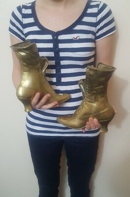 antique large  pair of brass boots