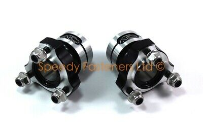 2x Black Alto 25mm Rear Hub x 60mm Long Twin Bolt Honda IAME Cadet Bambino Kart
